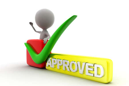 approving: 3d man approved concept in white background, side  angle view Stock Photo
