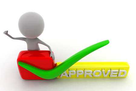 approving: 3d man approved concept in white background, top angle view Stock Photo
