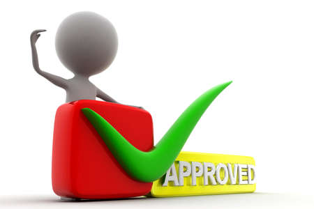approved: 3d man approved concept in white background, side  angle view Stock Photo
