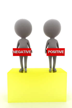 negativity: 3d man presenting positive negative concept in white background, front angle view