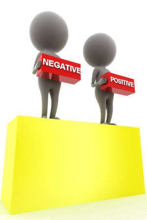 negativity: 3d man presenting positive negative concept in white background, side angle view