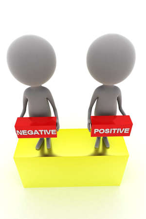 negativity: 3d man presenting positive negative concept in white background, top angle view Stock Photo