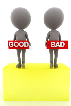 good bad: 3d man presenting good bad concept in white background, front angle view