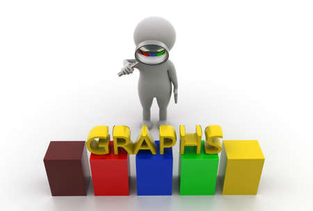 man searching: 3d man searching graph concept  in  white background - 3d rendering,  top angle view