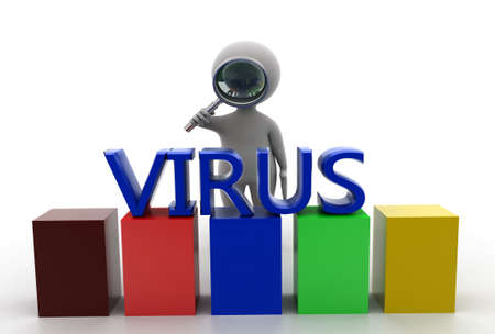 man searching: 3d man searching virus  concept  in  white background - 3d rendering, front angle view