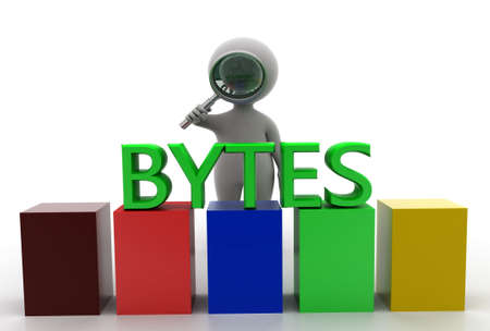 bytes: 3d man searching bytes concept in  white background - 3d rendering, front angle view