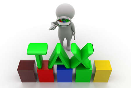 magnification: 3d man tax concept in white background - 3d rendering, top angle view