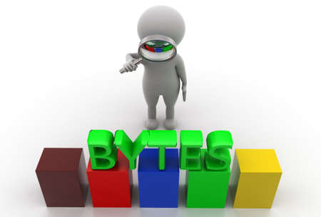 bytes: 3d man searching bytes concept in  white background - 3d rendering, top angle view Stock Photo