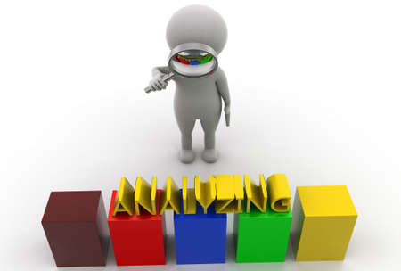 analyzing: 3d man searching analyzing  concept  in  white background - 3d rendering, top  angle view