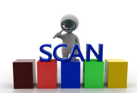 man searching: 3d man searching scan concept in  white background - 3d rendering, front angle view