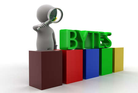 bytes: 3d man searching bytes concept in  white background - 3d rendering, side angle view