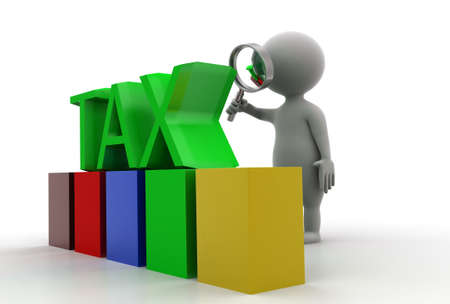 magnification: 3d man tax concept in white background - 3d rendering, side angle view