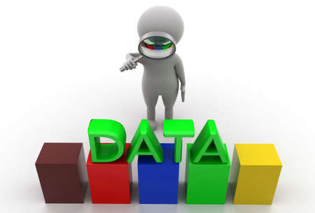 man searching: 3d man searching data  concept  in  white background - 3d rendering, top angle view Stock Photo
