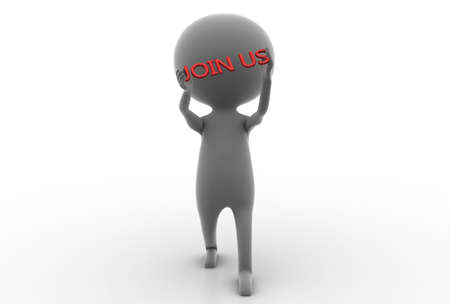 join hands: 3d man holding join us text in hands concept  on white background , front angle view