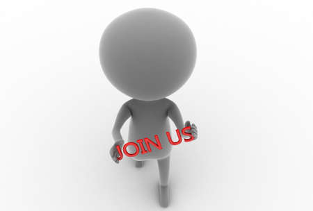 join us: 3d man holding join us text in hands concept  on white background , top angle view