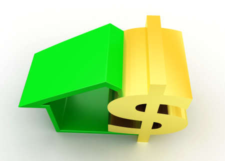top angle view: 3d house dollar concept on white background , top angle view Stock Photo