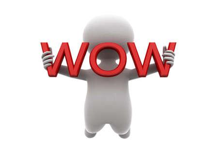 wow: hombre 3d que sostiene wow concepto de texto sobre fondo blanco, ángulo de vista frontal