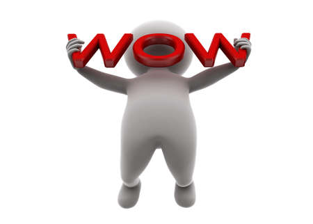 wow: 3d man holding wow text concept  on white background , low angle view