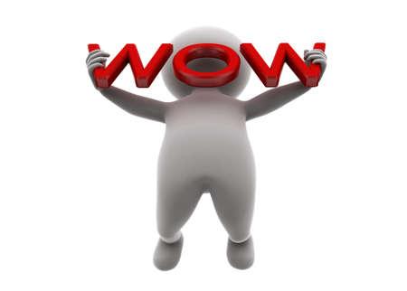 wow: Hombre 3d que sostiene wow concepto de texto sobre fondo blanco, vista de ángulo bajo
