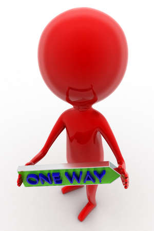 one way: 3d man holding  one way text  concept  on white isolated background - 3d rendering ,  top angle view