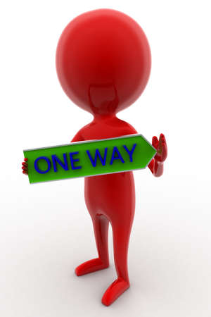 one way: 3d man holding  one way text  concept on white isolated background - 3d rendering ,   front angle view