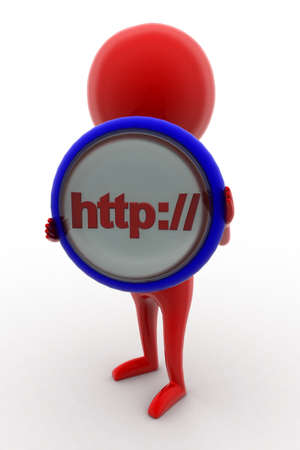 http: 3d man holding http: - text projected on a circular shape  concept on white isolated background - 3d rendering ,  front angle view Stock Photo