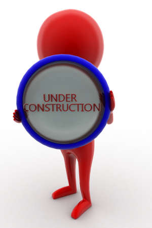 under construction sign with man: 3d man holding under construction - text projected on a circular shape  concept on white isolated background - 3d rendering ,  front angle view Stock Photo