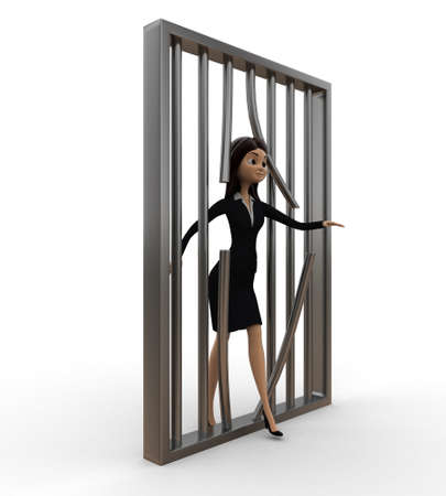 prison break: women jail  prison break concept on white isolated background - 3d rendering , side angle view