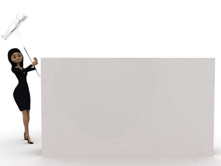 hitting: 3d woman hitting a blank board with hammer concept on white isolated background - 3d rendering ,front angle view