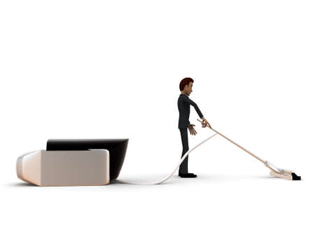 vacuuming: 3d man cleaning floor with the help of vacuum cleaner concept in white isolated background - 3d rendering ,  side angle view Stock Photo