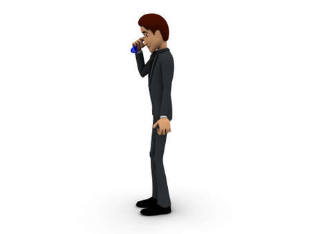 telephonic: 3d man having telephonic conversation concept on white isolated background - 3d rendering , side angle view