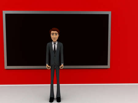 consisting: 3d man  standing inside a classroom consisting of a blackboard concept in white isolated background - 3d rendering , front angle view Stock Photo