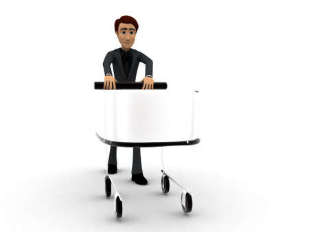 man pushing: 3d man pushing a shopping cart concept on white isolated background - 3d rendering , front angle view