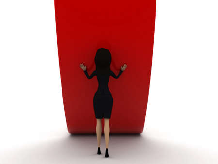 straight path: 3d woman diverting a straight path concept on white isolated background - 3d rendering , front angle view