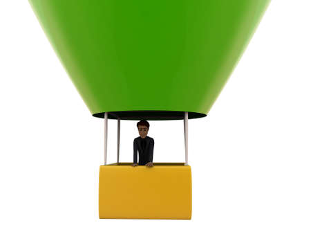 man in air: 3d man flying in air balloon concept in white isolated background - 3d rendering , front angle view Stock Photo