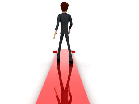 through: 3d man walking through arrow concept on white isolated background - 3d rendering , back angle view Stock Photo
