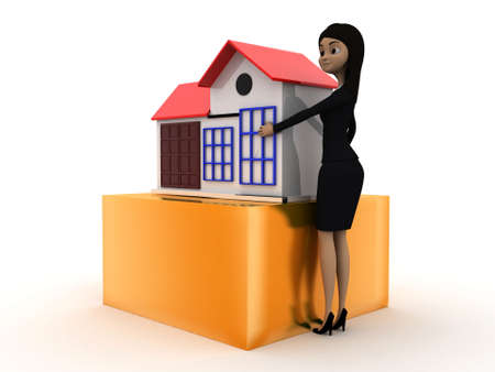 toy house: 3d woman presenting a toy house concept on white isolated background - 3d rendering , side angle view