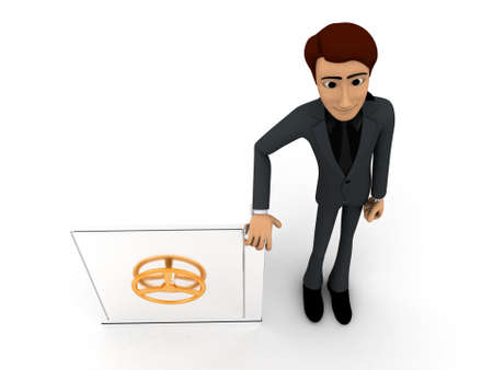 locker: 3d man presenting a secure locker box concept on white isolated background - 3d rendering , top angle view Stock Photo
