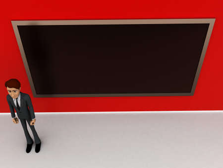 consisting: 3d man  standing inside a classroom consisting of a blackboard concept in white isolated background - 3d rendering , top angle view Stock Photo