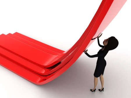 straight path: 3d woman diverting a straight path concept on white isolated background - 3d rendering , top angle view