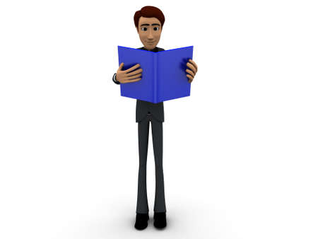 man reading: 3d man reading books concept on  white isolated background - 3d rendering , front angle view Stock Photo