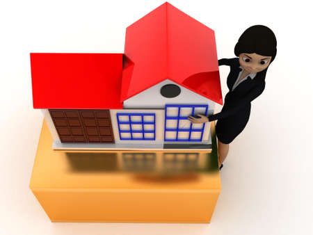 toy house: 3d woman presenting a toy house concept on white isolated background - 3d rendering , top angle view Stock Photo