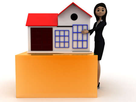 toy house: 3d woman presenting a toy house concept on white isolated background - 3d rendering ,front angle view Stock Photo
