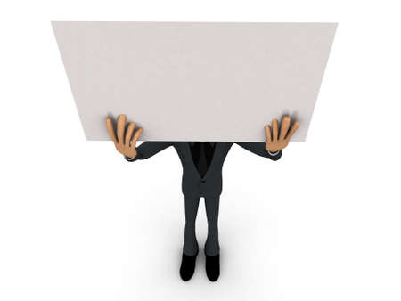 elevated: 3d man holding a white blank sheet elevated over his head concept on white isolated background - 3d rendering , top angle view Stock Photo