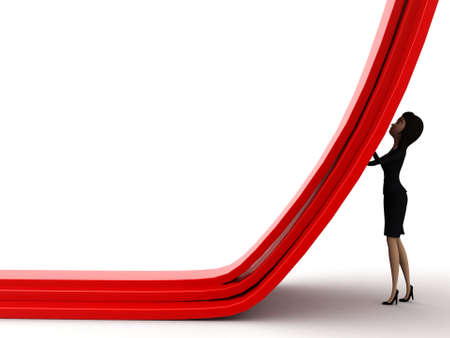 straight path: 3d woman diverting a straight path concept on white isolated background - 3d rendering , side angle view