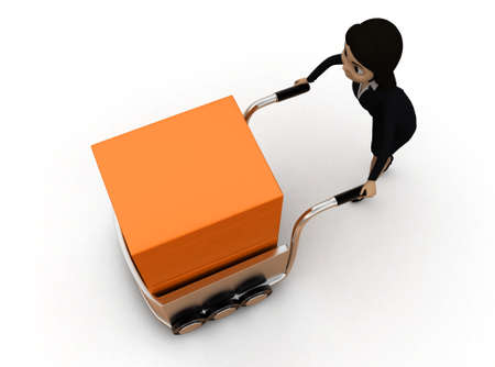 handtruck: 3d woman pushing a handtruck concept in white isolated background 3d - rendering , top angle view Stock Photo