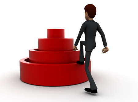 stepping: 3d man stepping into elavated target step concept in white isolated background 3d - rendering , back angle view Stock Photo