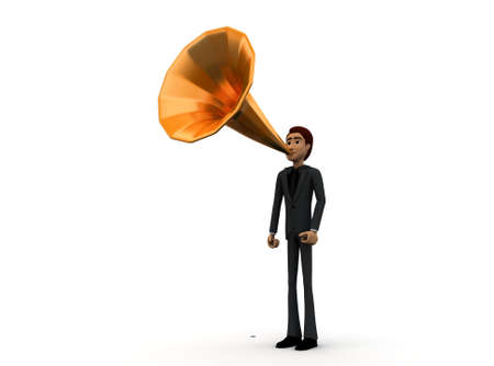 gramaphone: 3d man with gramaphone speaker fitted on mouth concept in white isolated background 3d - rendering , front angle view