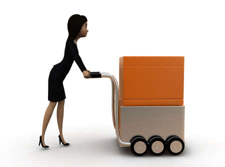handtruck: 3d woman pushing a handtruck concept in white isolated background 3d - rendering , side angle view