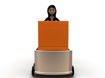 handtruck: 3d woman pushing a handtruck concept in white isolated background 3d - rendering , front angle view